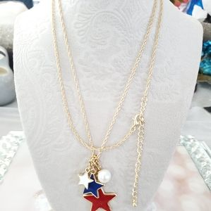 New patriotic gold tone necklace faux pearl